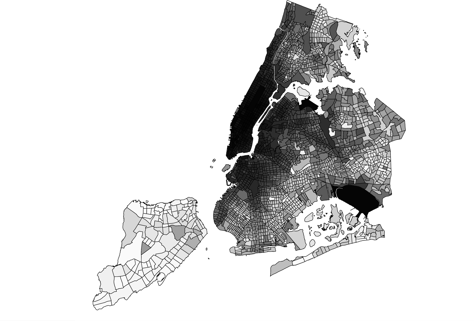 The map shows New York City, divided up by census tract. Darker census tracts have a high number of drop offs, while lighter ones have less.