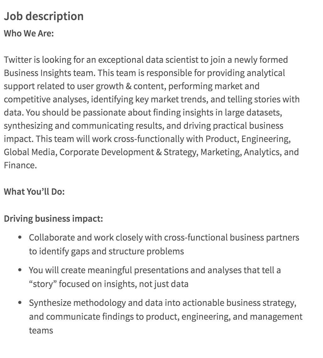 data scientist job description